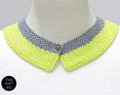 knitted collar neon yellow grey gray cotton theknitkid one size