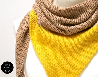 cashmere merino triangle scarf beige yellow theknitkid