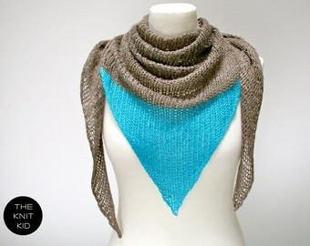 triangle scarf linen viscose mud turquiose triangular shawl theknitkid