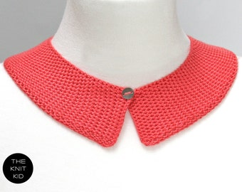 knitted collar coral red orange red  cotton theknitkid