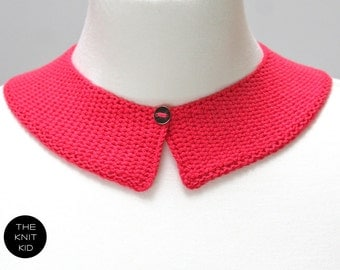 knitted collar hot pink cotton theknitkid