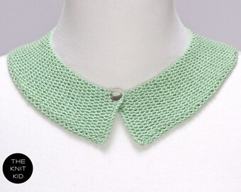 knitted collar mint light green pastel cotton theknitkid