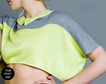 knitted sweater top neon yellow grey cotton viscose theknitkid
