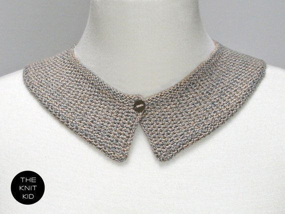 knitted collar beige grey gray greige cotton theknitkid