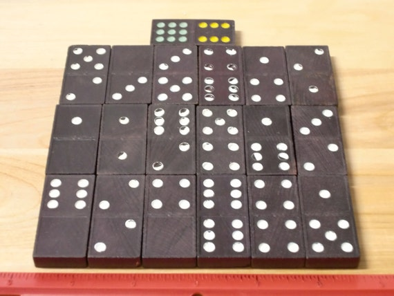 Vintage Black Domino Craft Tiles White Pips on Black Wood, QTY 19, Jewelry Making Tiles