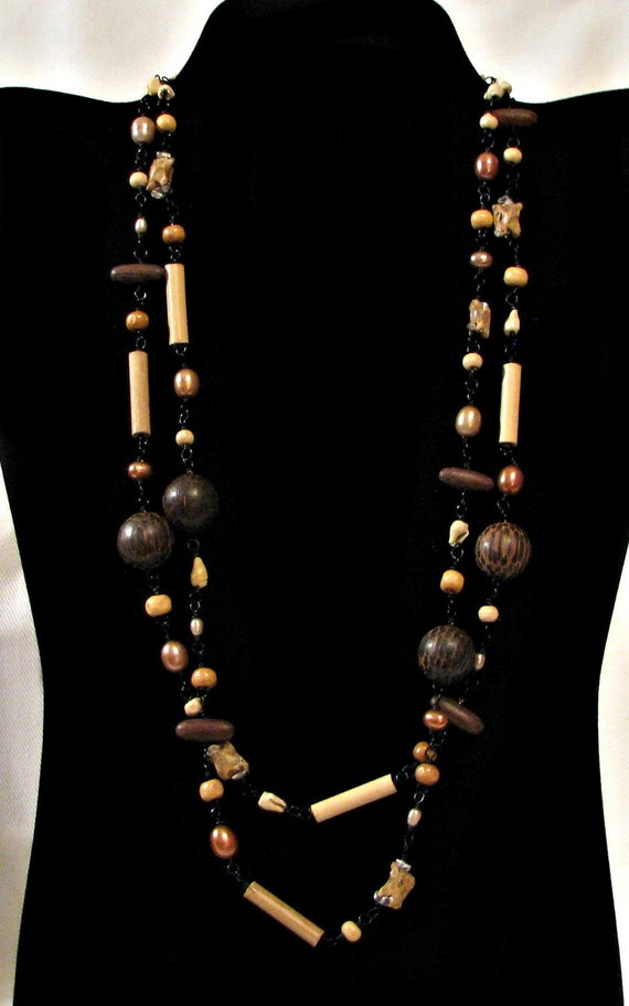 Wood, Pearl, Quartz, Bamboo, Shell and Snake Spine Necklace