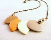 Modern Boho Necklace, Summer, Peach, Brown, Upcycled, Organic Jewelry