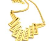 Art Deco Necklace Egyptian Fan Trifari Designer Retro Vintage Jewelry