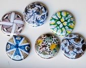 decorative plates from allover the world. 6 one inch magnet / pin buttons