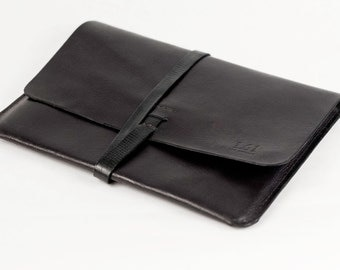 Leather iPad Case iPad Portfolio - Leather, Hand-Stitched, Top Grade, Black