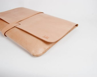 "Leather MacBook Pro 15"" Case/Portfolio - Nude(Natural) color  Made from veg tan leather, 100% hand stitched."