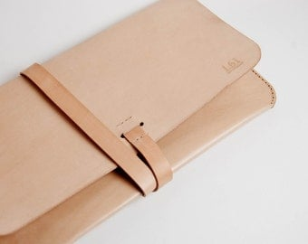 """Leather MacBook Air 11"""" Case/Portfolio - Nude(Natural) color  Made from veg tan leather, 100% hand stitched."""