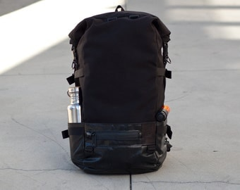Roll Top Backpack - commuter, black cordura, truck tarp, waterproof