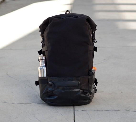 Roll Top Backpack - commuter, black cordura, truck tarp, waterproof