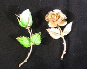 Flower Broochs, Shawl Pins, Vintage Pink Rose and Gold Rose Flower Pins