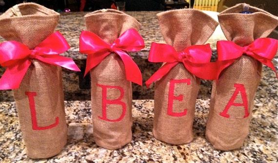 Monogram Burlap Wine Bag Set