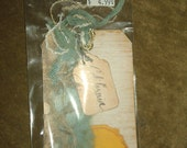 Life's Journey Stitched Tags / Reminisce California Travel Scrapbooking Tags Cardmaking Tags lot of 2
