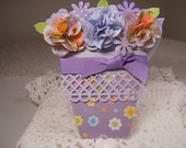 Lattice bordered flower pot card with lavender and yellow origami paper flowers