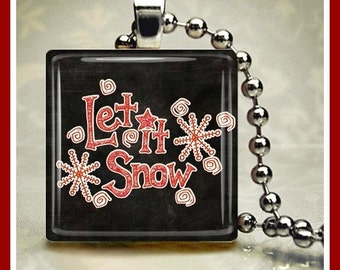 Christmas Winter Glass Tile Pendant 'Let it Snow' One Inch 24 inch Silver Plated Ball Chain Included