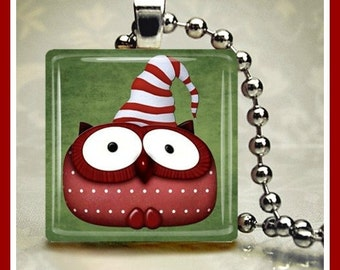Christmas Glass Tile Pendant Christmas Critters Owl One Inch 24 inch Silver Plated Ball Chain Included