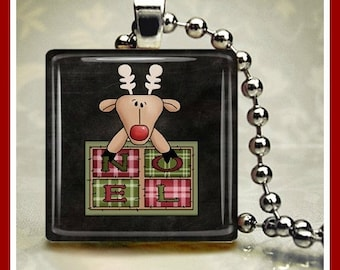 Christmas Winter Glass Tile Pendant Santa's Reindeer 'Noel' One Inch 24 inch Silver Plated Ball Chain Included