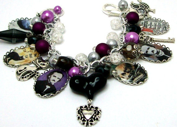 allen jewelry edgar allen poe charm bracelet jewelry beaded altered 4850