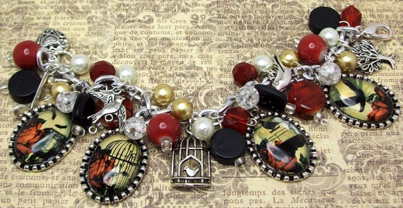 SALE Victorian Vintage Antique Birds Birdcages Silhouettes Charm Bracelet Beaded Chunky Altered Art Picture Charms Beads Free Shipping