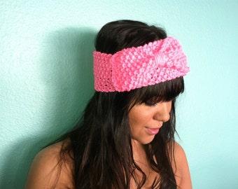 KNIT BOW HEADBAND Hand Knit Headband/Earwarmer with Bow, Knitted Headband, Knit Headband