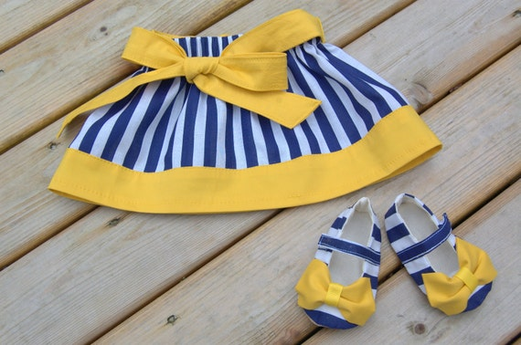Baby Girl Shoes & Skirt, Baby Shower Gift Set, Yellow and Navy Blue Nautical, Size 0-3 Months