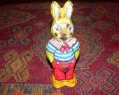 Chein wind up bunny rabbit vintage toy. Made in the 1950s by J.Chein and Co. Made in the U.S.A.