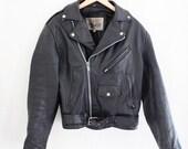 Vintage 80s Mens Black Leather Motorcycle Jacket
