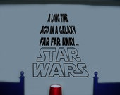 Vinyl Wall Art Decal A LONG TIME AGO... Star Wars Quote Large 24 x 27