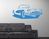 vinyl wall decal classic chevy corvette 1956