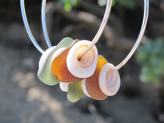 Sea glass and puka shell hoop earrings