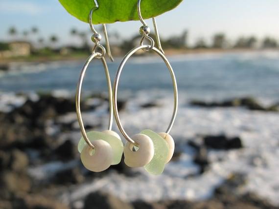 Dainty Beach Glass and Puka Shells Earrings