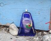blue triangle fused glass pendant