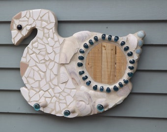 Mosaic Goose Mirror and Key/Jewelry holder