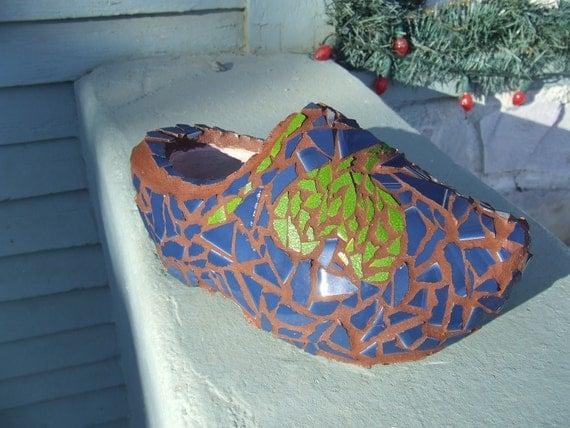 Blue and Green Tile Mosaic Dutch Shoe, Garden Decor, Planter
