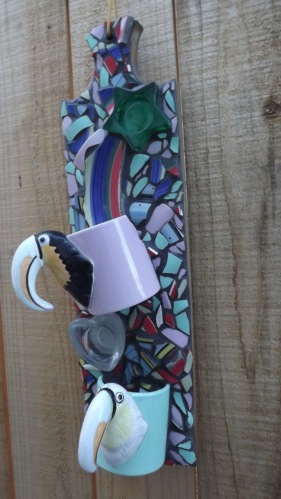 Toucan cups Mosaic wall hanging