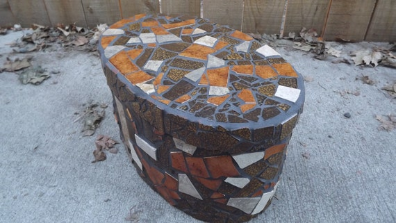 Mosaic Bentwood Oval Box, Home Decor, Earth Tones, Keepsake Box, Vintage Tile Box, Vintage Bentwood Box, Hopes Box, Natural Home