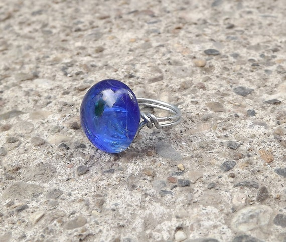 Blue fused glass wire wrapped adjustable ring