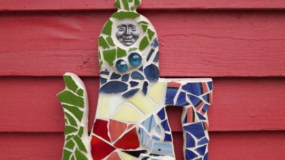 Clearance item Stained glass mosaicTeapot wall hanging