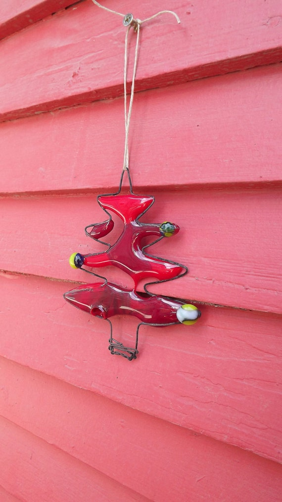 Red Fused Glass Christmas Tree Ornament