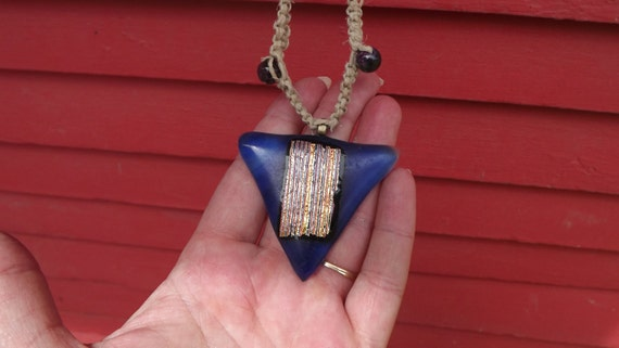 40% OFF Triangle Blue Glass Necklace