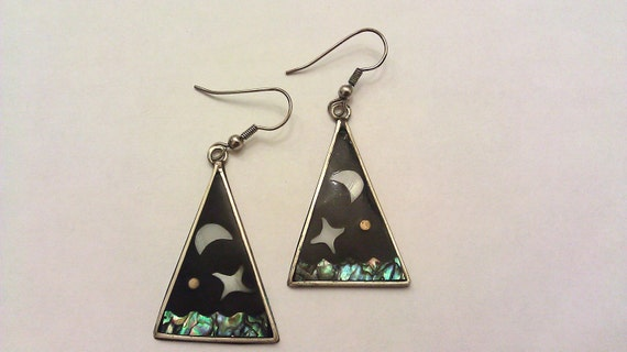 Vintage 90s Moon and Star Triangle Earrings Made in Mexico