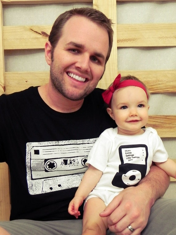 Daddy and Me Cassette and Ipod Shirt Set (Or Mommy and Me)