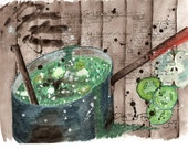 Original Watercolour Artwork from the Dirty Soul Food recipe book - Humppila Forest Easter Soup