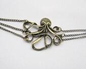 antique brass octopus bracelet