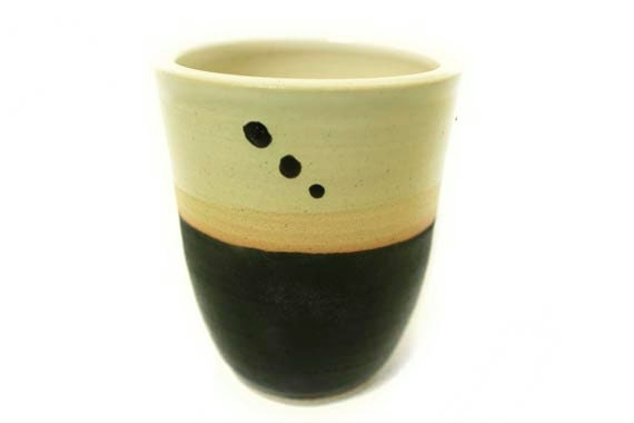 SALE: Small Business Saturday/Cyber Monday Black and white hand-thrown ceramic stoneware cup or vase with dots