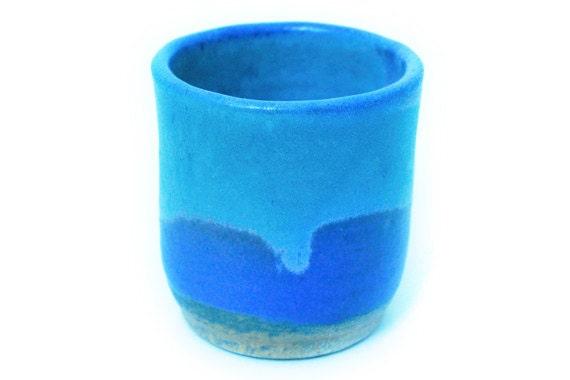 Cobalt and light blue handthrown stoneware ceramic cup